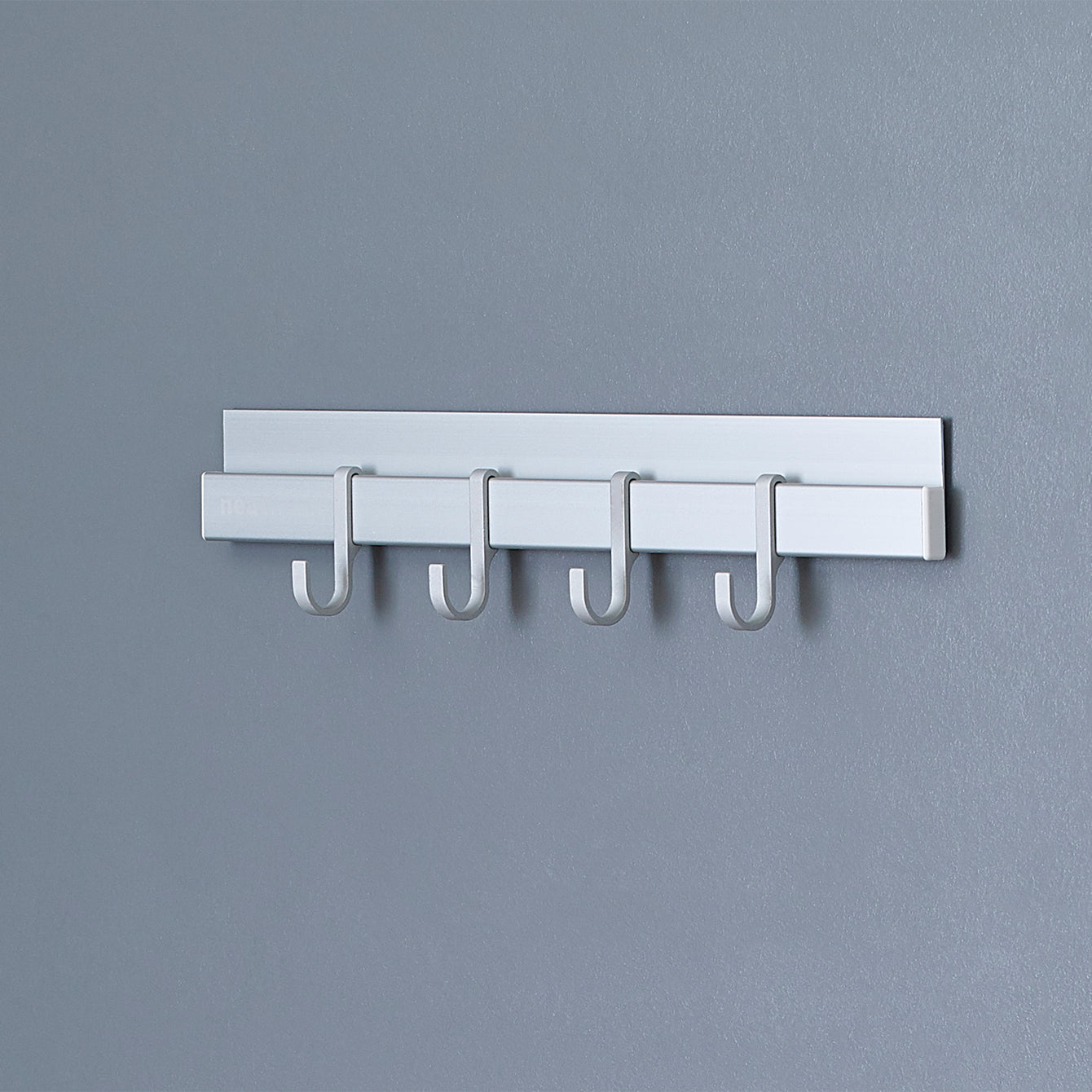 "Neat-trax™ System Adhesive Wall-Mounted 12"" Aluminum Track with 4 J-Hooks – Style 1037"