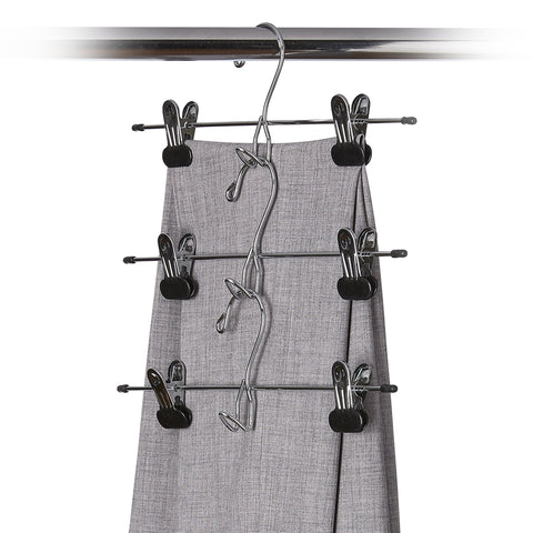 3 Pack Quick-Link Metal Pant and Skirt Hanger with Clips - Style 1311