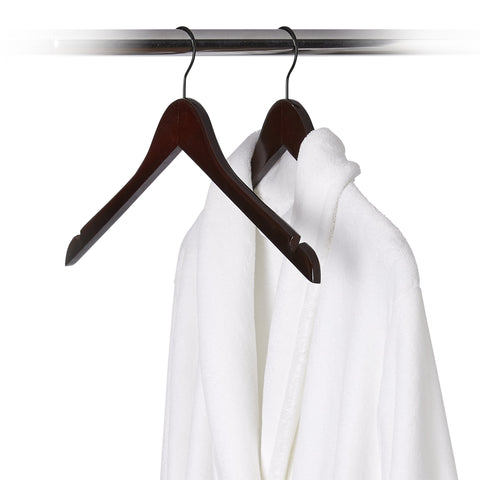 5 Pack Wood Flat Profile Robe Hanger - Style 4040