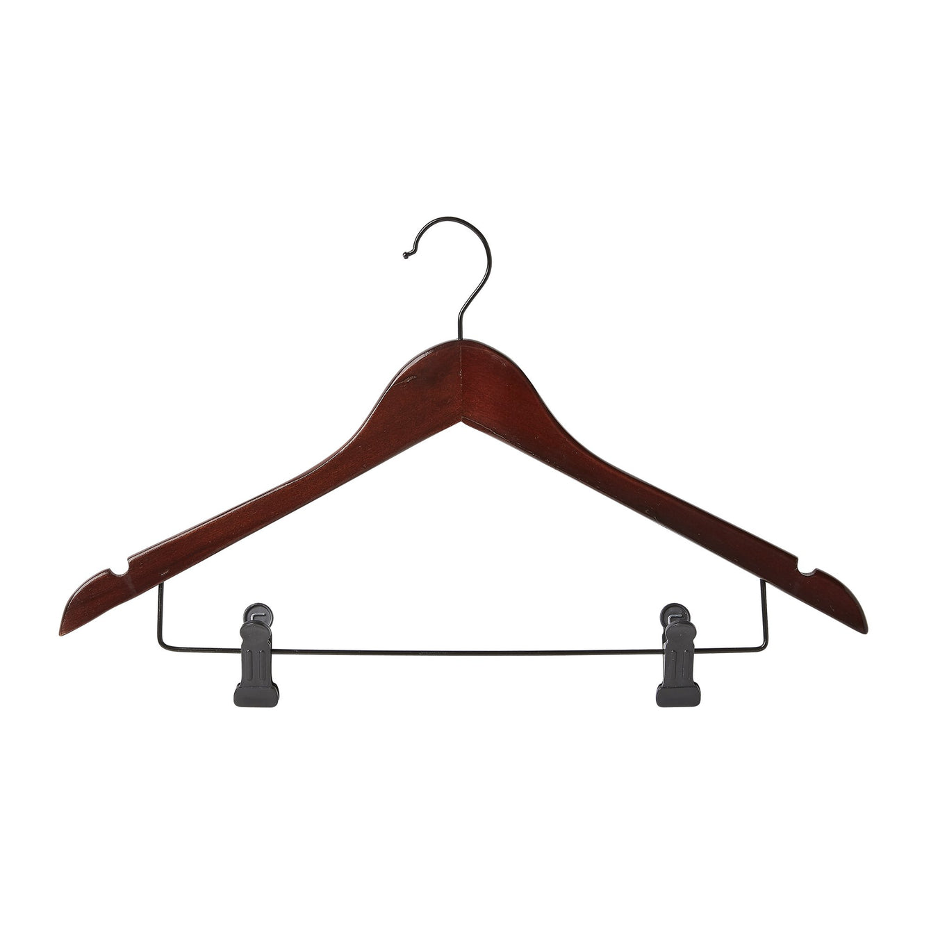 3 Pack Wood Contoured Profile Suit Hanger with Skirt Clips - Style 4095W