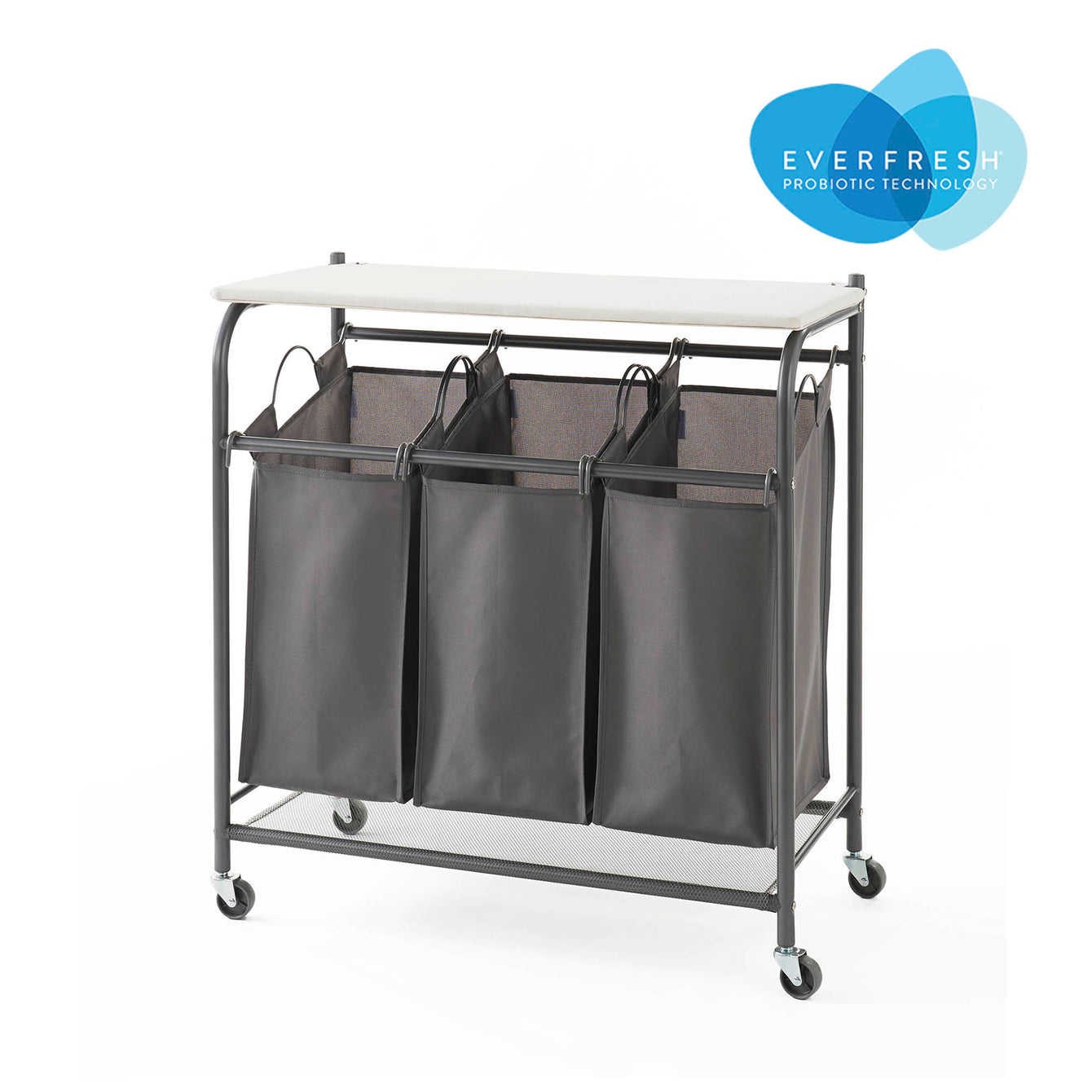 Rolling Triple Laundry Sorter with Ironing Board Top and EVERFRESH® Odor Control - Charcoal Grey - Style 5479