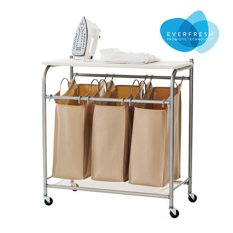 Rolling Triple Laundry Sorter with Ironing Board Top and EVERFRESH® Odor Control	- Sand Pebble Taupe - Style 5479