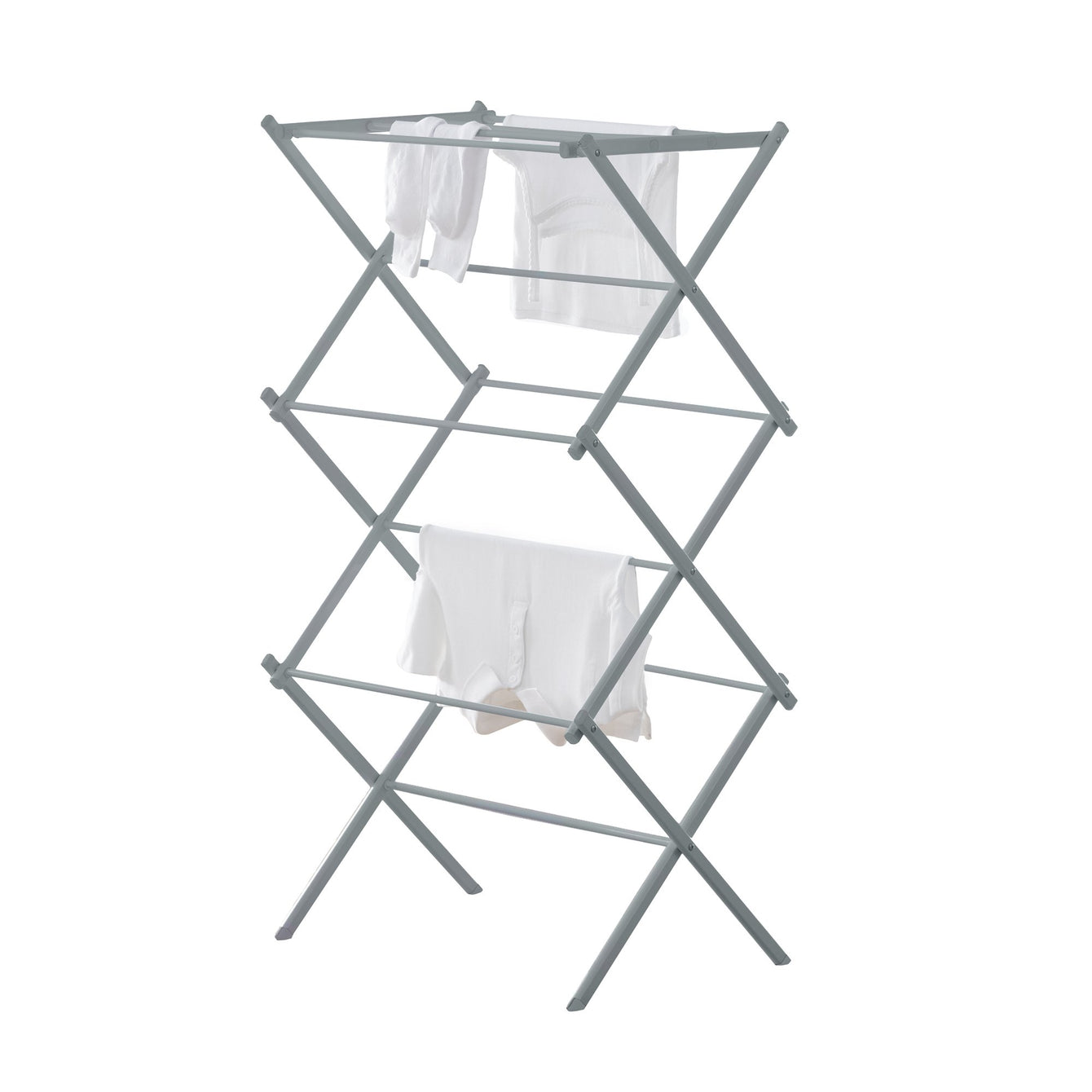 Compact Folding Laundry Drying Rack - Silver Metallic - Style 5529