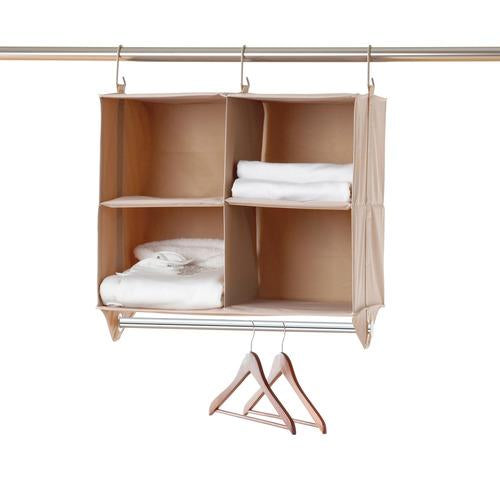 [closetMAX] SYSTEM™ Hanging 4-Cubby Closet Organizer with Hanger Bar - Style 5610-ST