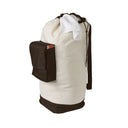 Canvas Laundry Duffel Bag with Pocket and Shoulder Strap - Natural/Brown - Style 5655