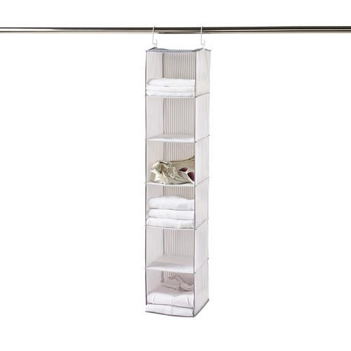 Hanging 6-Shelf Closet Organizer with Hooks – Ticking Stripe Collection - Style 5700