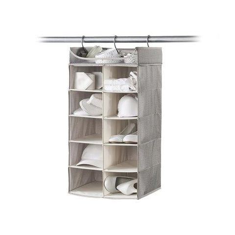 Hanging 2 x 5 Cubby Closet Organizer with Top Shelf - Harmony Twill Collection - Style 7752