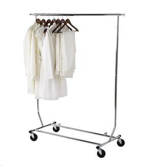 Expandable Commercial Chrome Garment Rolling Rack - Style 7822