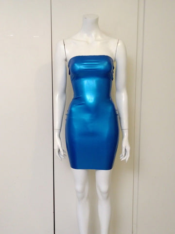 3d677220b434 Kim West Latex Dress sexy chlorinated Metallic Blue shiner and matching  THONG