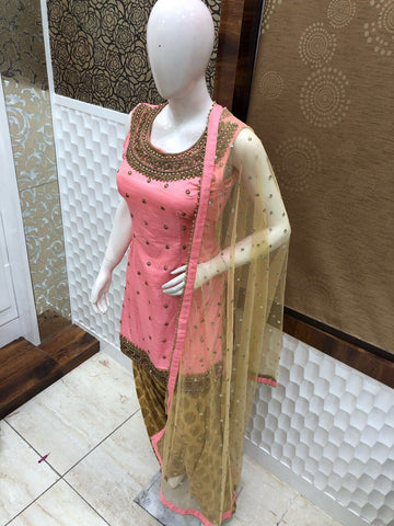 Baby Pink and Gold Patiala, Tusser soft Silk with Banarasi silk salwar. Heavy work net dupatta.