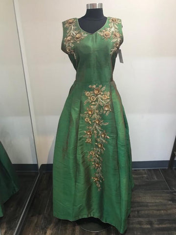 Rama Green raw silk gown