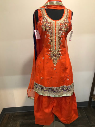 Orange with blue silk patiala with pearl and stone zari work