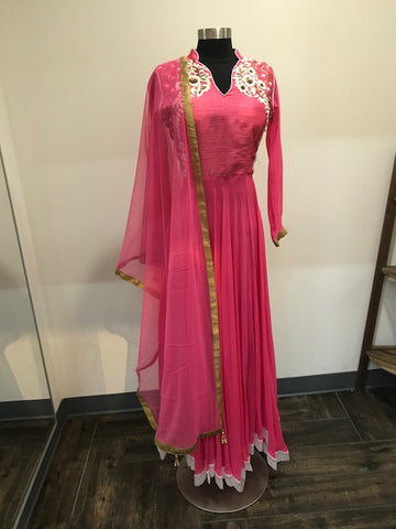 Pink anarkali georgette top ,3/4 sleeves attached, leggings and soft net dupatta