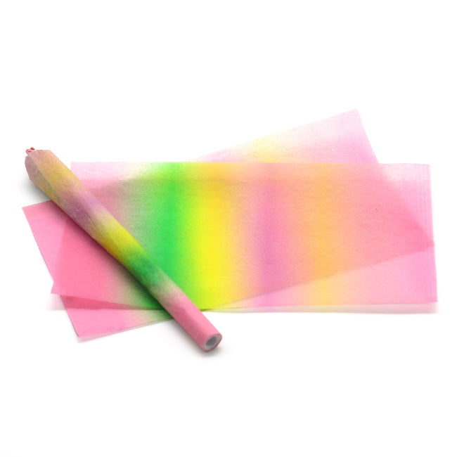 Papers and Ink custom printed hemp rolling papers in a pattern we call Bad ombre. This pretty novelty rolling paper has beautiful bold ombre coloring of pinks, yellows, and greens.
