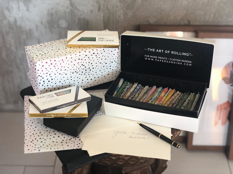Best gift ever for your smoking friends who partake. Bundle any assortment of Papers and Ink products such as our premium hemp rolling papers kits and we'll include them in a beautiful limited edition package.