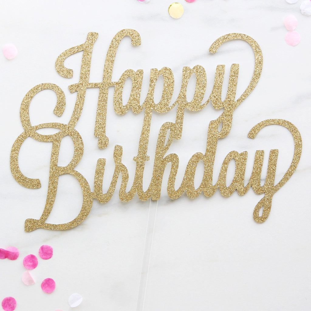 Happy Birthday Card Topper - Gold