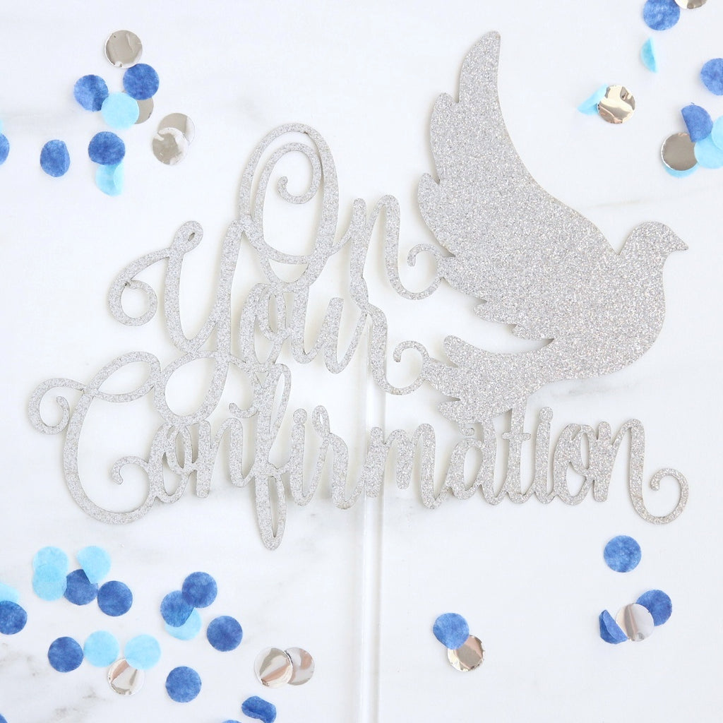 Confirmation Card Topper - Silver Glitter