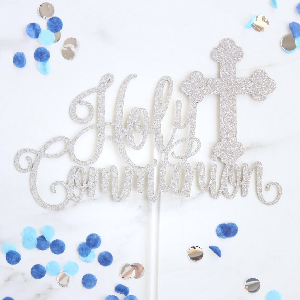 Communion Card Topper - Silver Glitter