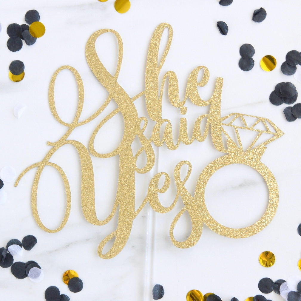 She Said Yes Card Topper - Gold Glitter