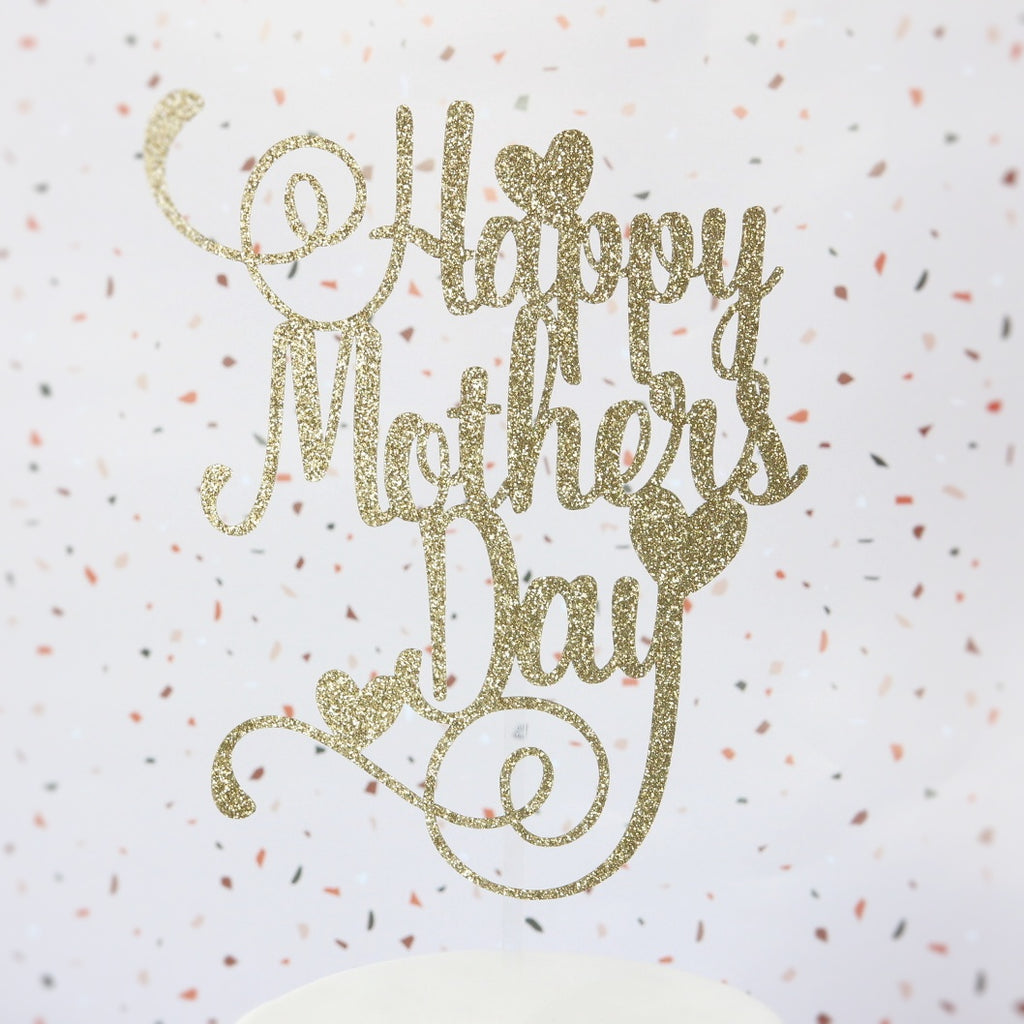 Happy Mothers Day Card Topper - Gold Glitter