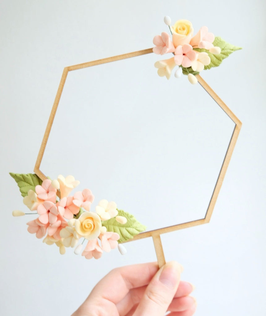 Wood Garland Floral Frame Hexagon