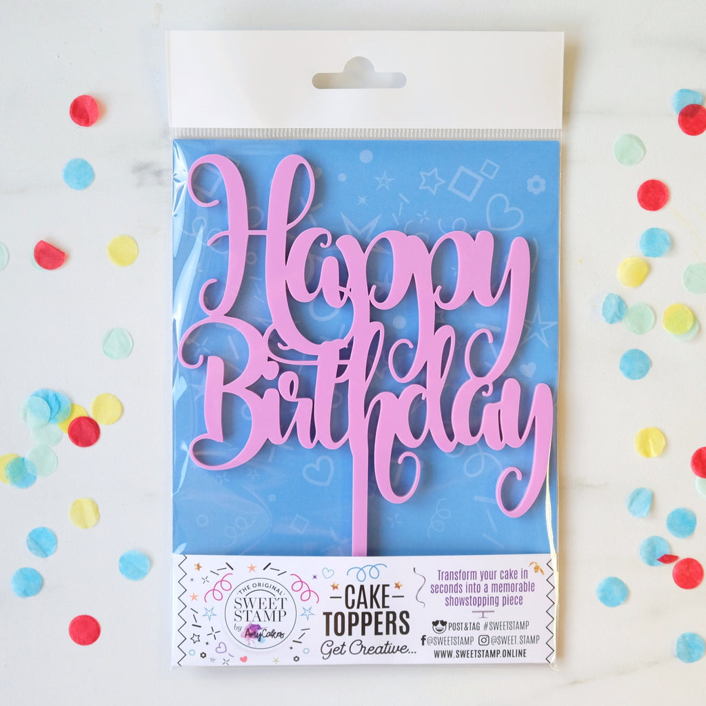 Funky Happy Birthday Cake Topper - Pink Medium