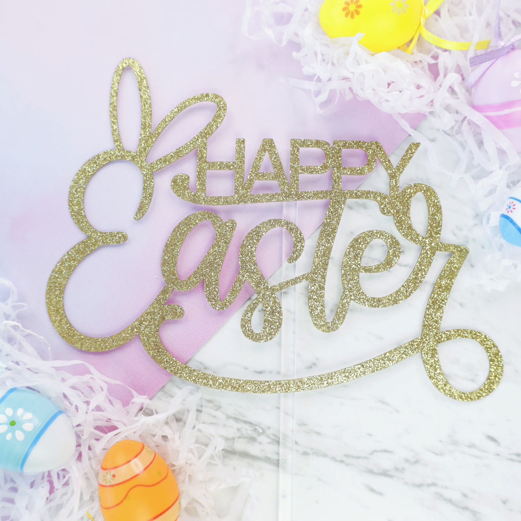 Happy Easter Card Topper - Gold