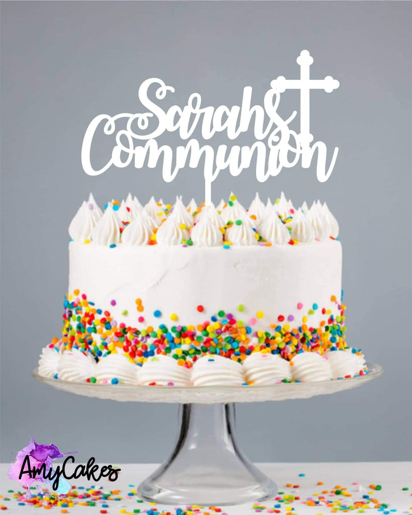 Curly Communion Custom Cake Topper