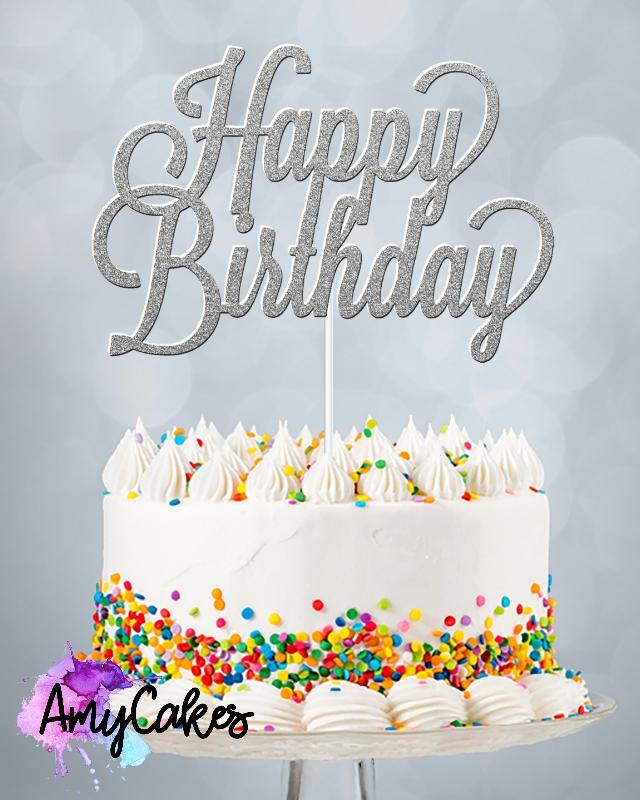 Happy Birthday Card Topper - Silver