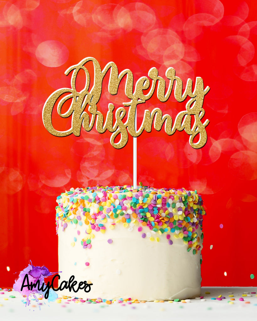Merry Christmas Card Topper - Gold