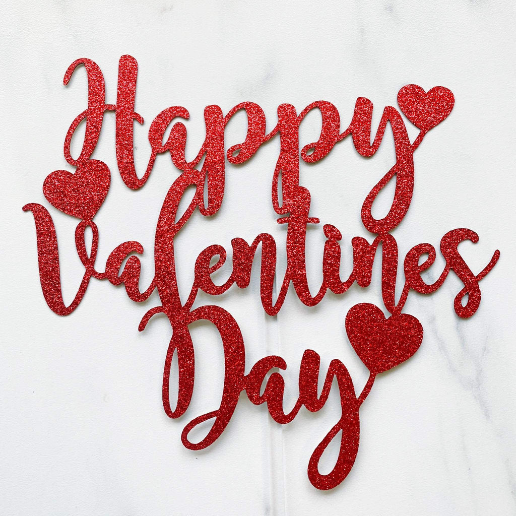 Happy Valentine's day Card Topper - Red Glitter