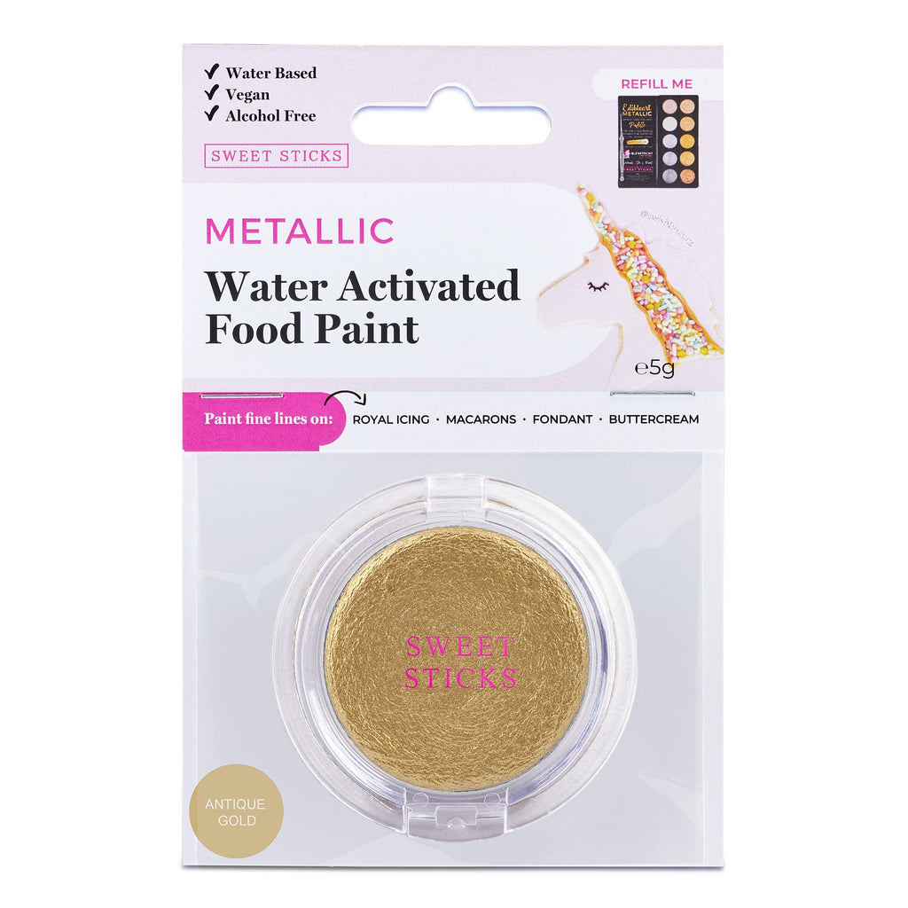 Water Activated Edible Art Paint: Antique gold
