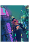 Facetime - Cyberpunk 2077 Inspired Original Print by Kloodwig