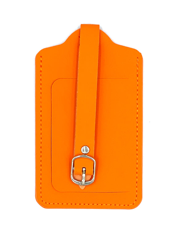 Orange Leather Luggage Tag