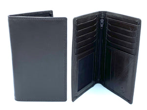 RFID Blocking Tall Leather Wallet - MRL 7 - Dark Brown