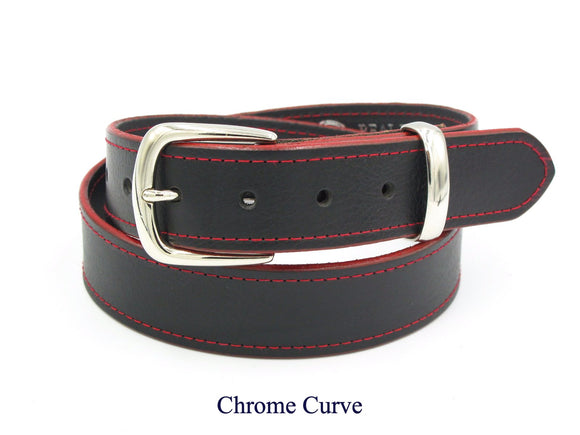 35mm Black leather belt with red stitching and edging. Handmade in England.
