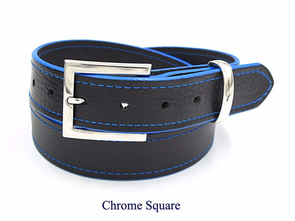 35mm Black leather belt with blue stitching and edging. Handmade in England.