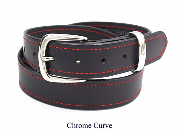 35mm Black leather belt with red stitching. Handmade in England.
