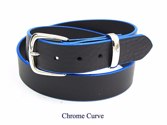 35mm Black leather belt with blue edging. Handmade in England.