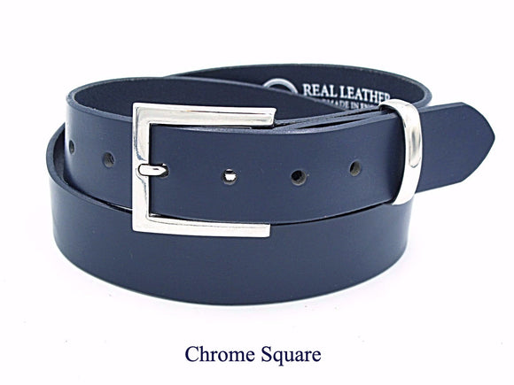 35mm Navy leather belt. Handmade in England.