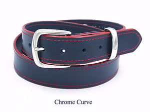 35mm Navy leather belt with red stitching and edging. Handmade in England.