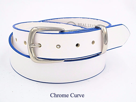 35mm White leather belt with blue edging. Handmade in England. - Mark Russell Leather