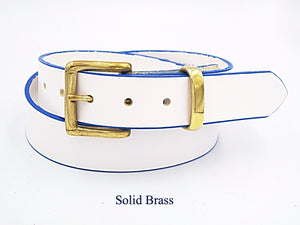 35mm White leather belt with blue edging. Handmade in England.