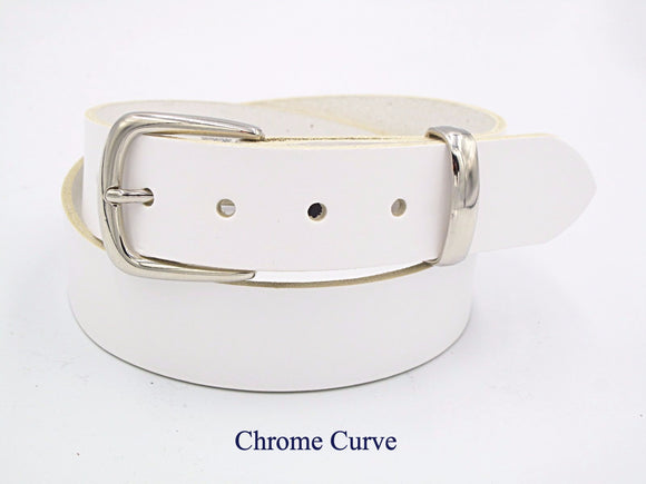 35mm White leather belt. Handmade in England. - Mark Russell Leather