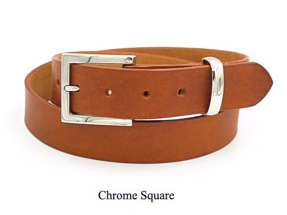 35mm Light Tan leather belt. Handmade in England.
