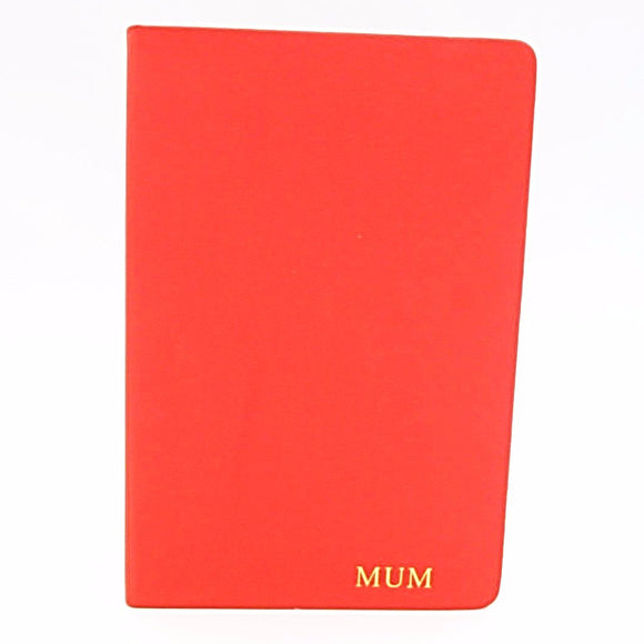 Personalised A5 Notebook - Red - Mark Russell Leather