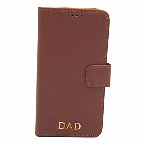 Personalised Leather iPhone Book Case - Tan