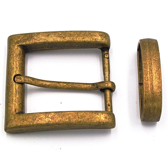 35mm Antique Brass Square Buckle - Mark Russell Leather