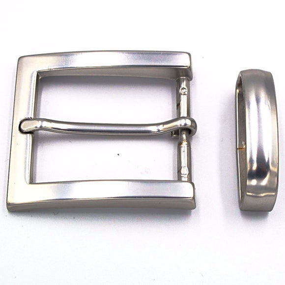 35mm Brushed Nickel Square Buckle - Mark Russell Leather