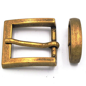 25mm Antique Brass Square Buckle - Mark Russell Leather